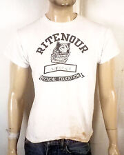 vtg 50s Champion Ritenour Physical Education T-Shirt Wolf flocked water print M