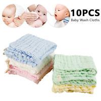 10pcs bébé bavoir carré chiffon lavage doux coton serviette de bain flanelles T2