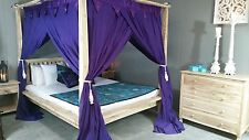 Balinese Four Poster Bed Canopy Curtain Mosquito Net 185cmx205cm Purple King