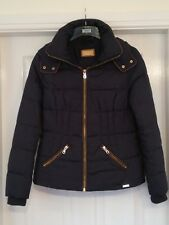 M&S PER UNA JACKET PADDED REMOVEABLE  HOOD NAVY SIZE SMALL 8/10
