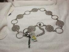 Women's Silver Tone Large Filigree Circle Link Chain Adjustable Belt NOS