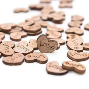 100pcs Love Heart Table Decoration Wooden Confetti Wood Table Scatter Wedding