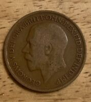 1914 Georgivs V One Penny United Kingdom Foreign Coin. Fine-Very Good Condition.