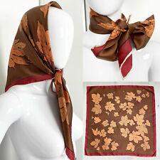 Vintage 1950s 1960s Burgundy Orange & Brown Leaf Print Satin Scarf Handkerchief