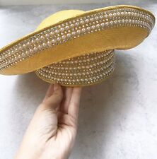 Jack McConnell Vintage Woven Pearl & Rhinestone Hat Original Red Feather Styled