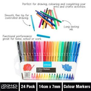 24 Water Coloured Colour Pens Marker Textas Non Toxic Craft Kid Painting Pen