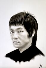 Bruce Lee - ritratto portrait grafite e carboncino cm. 33 x 48