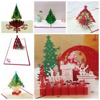 Christmas 3D Pop Up Card Tree Greeting Baby Gift Holiday Happy New Hot Cards