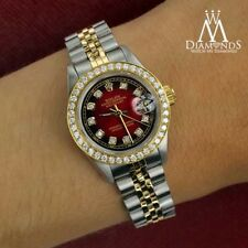 Ladies Rolex 26mm Datejust 2 Tone Red Vignette Color Dial with Diamond Accent