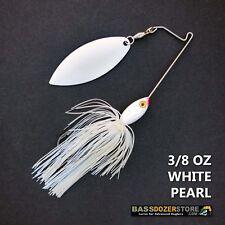 Bassdozer spinnerbaits SHORT ARM WILLOW 3/8 oz WHITE ON WHITE PEARL spinner bait