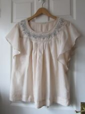 Ladies Marks And Spencer Blush Beaded Neck Top  -  Size 16