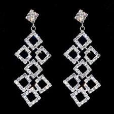 Tono Plata RACIMO DIAMONTE/Diamante Forma de Diamante Pendientes Largos -! nuevo!