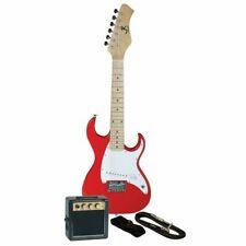 J Reynolds JRPKSTRD 1/2 Size Mini Strat Style Electric Guitar Pack w/ Amp, Red