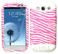 KoolKase Hybrid Silicone Cover Case for Samsung Galaxy S3 - ZEBRA Light Pink