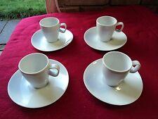 4 x Schonwald White Tall Espresso Mugs & 4 x Twist Saucers Fine Porcelain German