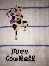Embroidered White/LT Blue Kitchen Bar Towel- MORE COW BELL W COW DANCING  BS1063