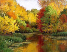 ZOPT628 charmed river landscape 100%  hand paint oil painting home art canvas