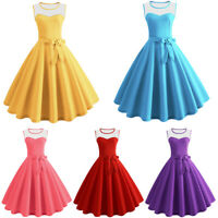 Ladies 50s Vintage Mesh Sleeveless Rockabilly Evening Party Cocktail Gown Dress
