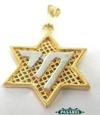 14k Yellow Gold Chai Star of David Designer Pendant