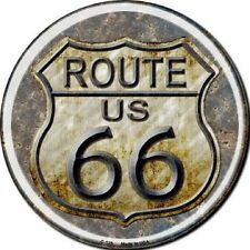 RUSTIC ROUTE 66 METAL NOVELTY ROUND CIRCULAR SIGN