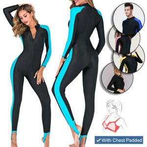 Full Body One Piece Wetsuit Anti UV Rash Guard Swimwear Surf Diving Mens Womens