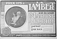 PUBLICITÉ DE PRESSE 1907 LA LAMBERT NOUVELLE MACHINE A ECRIRE - ADVERTISING