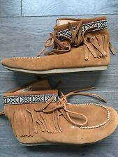 girls brown suede lace up mocassin style ankle boots, size 2