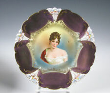 RS Prussia German Porcelain Portrait Plate with Tiffany Border Antique unsigned
