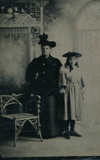 1860-1869 Tintype, Mother and Daughter, Flat Hats, Corner Chair