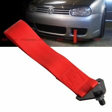 Universal JDM 50mm Towing Belt Nylon Strap Bumper Bolt on Tow Hook Kit Red