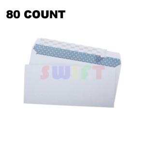 80 Peel and Self-Seal White Letter Mailing Envelopes Security 4-1/8 x 9-1/2 No10