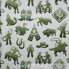 BonEful Fabric FQ Cotton Quilt VTG White Green Old Cow*boy West*ern Indian Horse