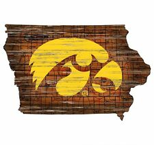 """Iowa Hawkeyes IA State Interstate Road Route Map Cut out Wood Sign 24"""" x 15"""""""