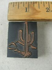 "Vintage Printing Letterpress Printers Block ""CATUS"" Copper & Wood"