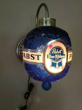 Vintage RARE Pabst Blue Ribbon PBR SPINNING Faux Crystal Globe Wall Sconce