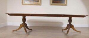 Regency Dining Table - Burr Walnut Pedestal Tables 10 Feet 3 Metres