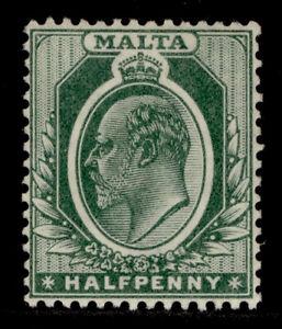 MALTA EDVII SG47b, ½d deep green, LH MINT.