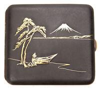 Unusual Vintage Japanese Iron Repousse Gold Damascene Cigarette Case Komai Old