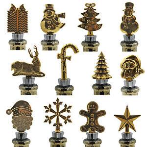 Christmas Character Gold Wine Bottle Stopper Cork - Choose Design