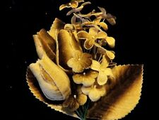 """Velvet Millinery Flower Forget Me Not w/2""""Bud Hat Bridal & Hair Beige Brown Y190"""