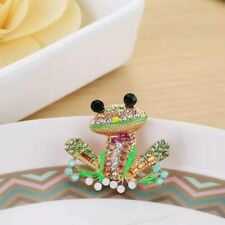 Green Enamel Crystal Cute Frog Charm Animal Brooch Pin Gift