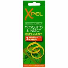 XPEL MOSQUITO & INSECT REPELLENT ARM BANDS NEW * 2 BANDS TRAVEL - FAST DELIVER