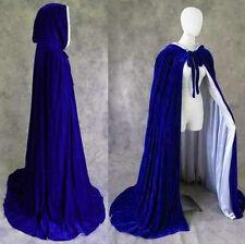 Lined Blue Silver Velvet Renaissance Medieval Cosplay Cloak Cape Lotr Larp Wicca