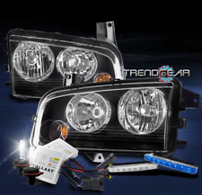 FOR 2006-2010 DODGE CHARGER BLACK HEADLIGHT LAMP W/BUMPER BLUE DRL LED+XENON HID