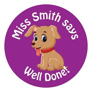80 Personalised Teacher Reward Stickers for Pupils Purple Puppy Dog gift