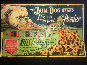 RARE GRAPHIC 1900's VINTAGE BULL DOG BRAND FLY AND INSECT POWDER BOX SIGN LABEL