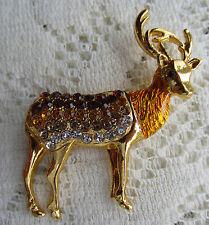 REINDEER DEER STAG BUCK CHRISTMAS CRYSTALS BROOCH PIN GOLD TONE