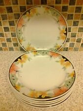 MADE IN CHINA PORCELAIN 6 X SIDE/CAKE PLATES PRETTY PINK  ORANGE/YELLOW FLOWER