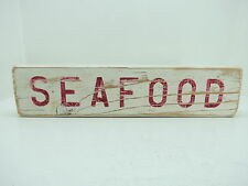 15 INCH WOOD HAND PAINTED SEAFOOD SIGN NAUTICAL MARITIME (#S649)