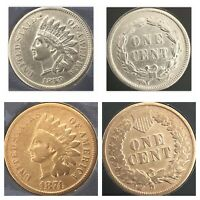 1859 & 1874 INDIAN HEAD PENNYS, NICE COINS, AS PICTURED